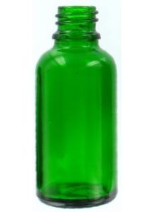 30ml sklenená zelená fľaštička 18mm hrdlo