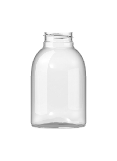 400ml Clear Plastic Wide Mouthed Bottle / Jar 43mm neck PET Plastic with Aluminium Cap