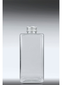 200ml Clear Short Square Bottle & 24mm Aluminium Cap