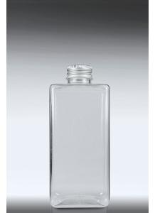 200ml priesvitná PET hranatá fľaša s 24mm hrdlom a hliníkovým uzáverom