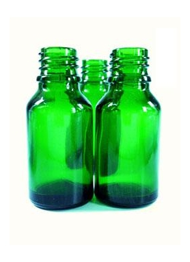10ml green glass dropper bottle with a glass pipette