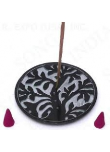 Tree of Life Black Soapstone Incense Burner