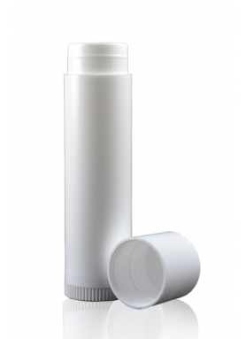 4.3gm White Lip Balm Tube with Cap & Twist-up Base