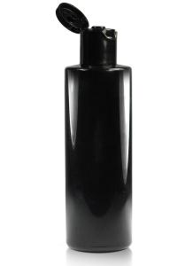 150ml lesklá čierna PET fľaša s 24mm hrdlom s čiernym vyklápacím vrchnákom (flip-top)