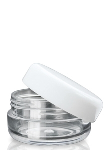 10ml Plastic Clear Screw Top Jar and white Lid