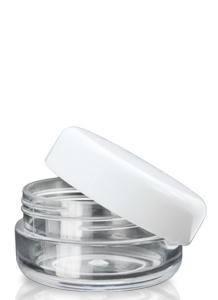 10ml priesvitný PET obal na balzamy s bielym vrchnákom
