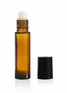 10ml Amber Glass Roll-on Bottle with Black Cap and Roller Ball