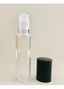 10ml Clear PET Roll-on Bottle with Black Cap and Roller Ball