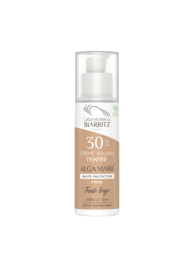 ALGA MARIS - certified organic SPF30 tinted face sun cream  BEIGE 50ml